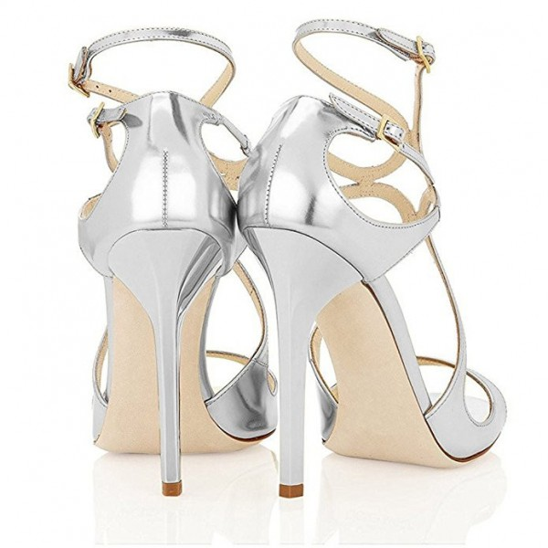 Metallic Silver Bridal Sandals Strappy Stiletto Heels for Wedding image 3