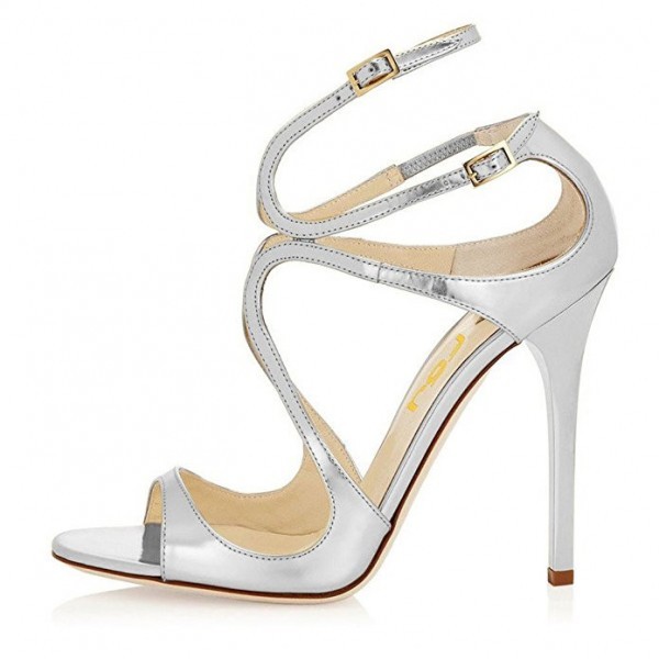 Metallic Silver Bridal Sandals Strappy Stiletto Heels for Wedding image 4