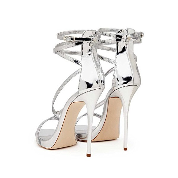 Silver Strappy Sandals Open Toe Glossy Stiletto Heels image 3