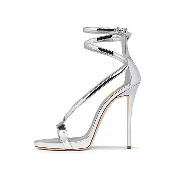 Silver Strappy Sandals Open Toe Glossy Stiletto Heels image 2