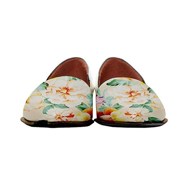 Women's Yellow Floral-print Pointed Toe Slip-on Comfortable Flats image 3