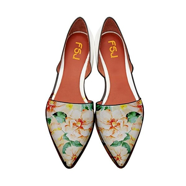 Women's Yellow Floral-print Pointed Toe Slip-on Comfortable Flats image 1