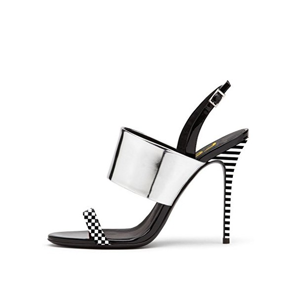 Silver Slingback Heels Open Toe Stiletto Heels Black and White Plaid Sandals image 2
