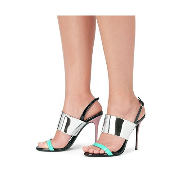 Cyan and Silver Mirror Leather Stiletto Heels Slingback Sandals image 3