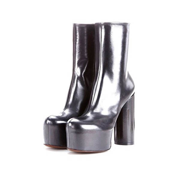 ac27850de27 Silver Platform Boots Fashion Block Heel Ankle Boots for Party ...