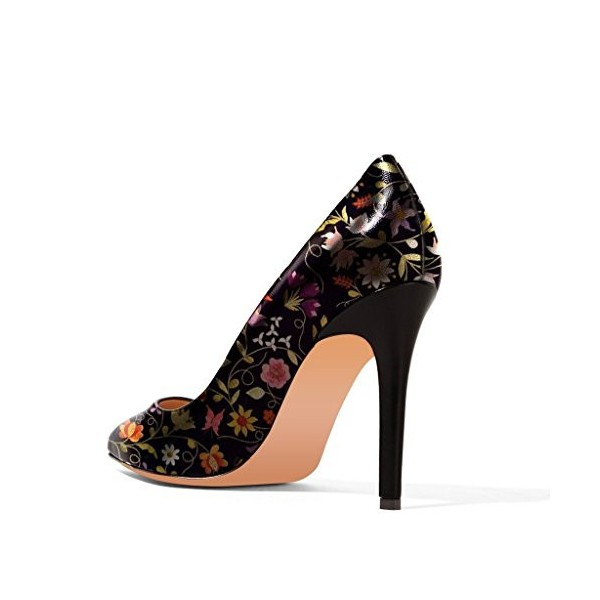 Floral Heels Black Pointy Toe 4 Inch Stiletto Heels Pumps image 3