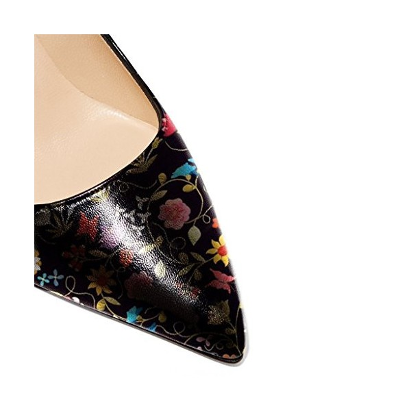 Floral Heels Black Pointy Toe Stiletto Heels Pumps image 5