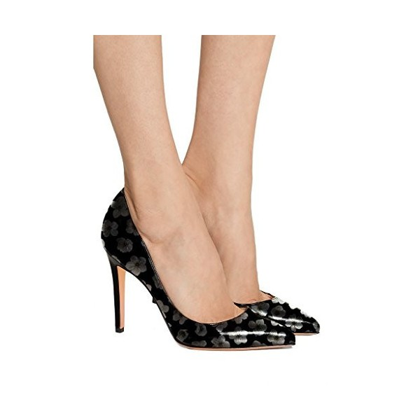 Women  Black Pumps Floral  Pointed Toe Stiletto Heel Dress Shoes image 5