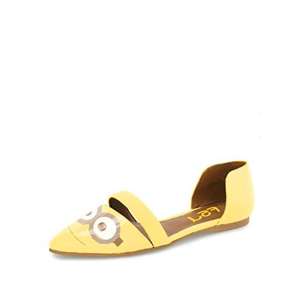 Yellow Pointy Toe Flats Patent Leather  Minions Double D'orsay Shoes image 1