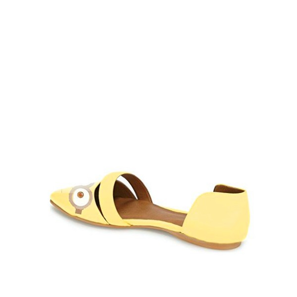 Yellow Pointy Toe Flats Patent Leather  Minions Double D'orsay Shoes image 2