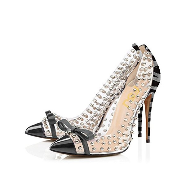 Women's Dark Grey Pointed Toe clear Heels Rivets Stiletto Heel Pumps image 1