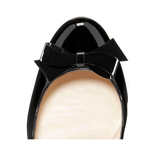 Black Bow Heels Patent Leather Round Toe Platform Pumps for Work image 3