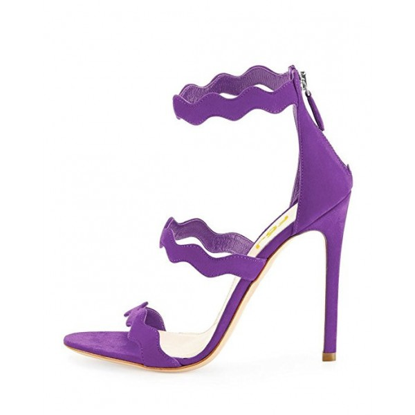 Women's Purple Stiletto Heels Dress Shoes Suede Open Toe Ankle Strap Sandals  image 2