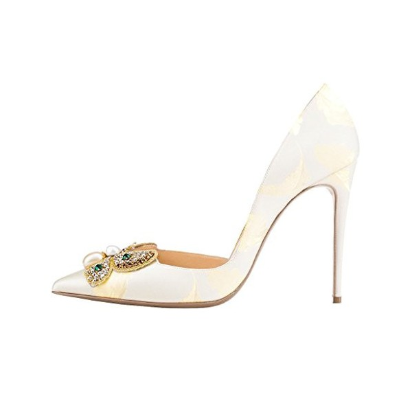 White Bridal Heels Satin Rhinestone Stiletto Heel Pumps for Wedding image 2