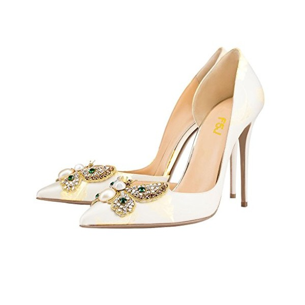 White Bridesmaid Shoes Rhinestone Stilettos Pointed Toe Wedding Shoes  image 1