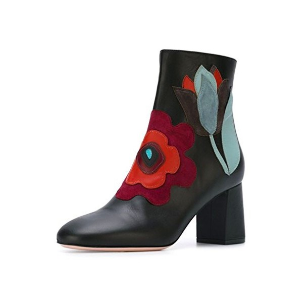 Black Short Boots Flower Block Heel Fashion Ankle Boots US Size 3-15 image 1