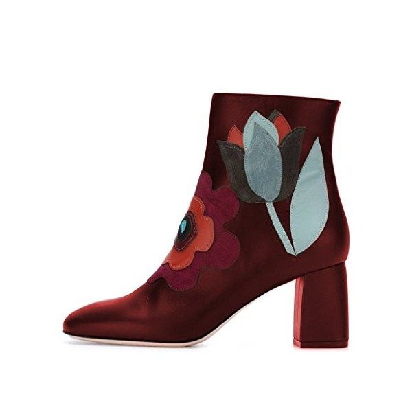 Red Short Boots Flower Block Heel Fashion Ankle Boots US Size 3-15 image 3