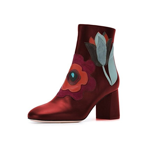 Red Short Boots Flower Block Heel Fashion Ankle Boots US Size 3-15 image 1