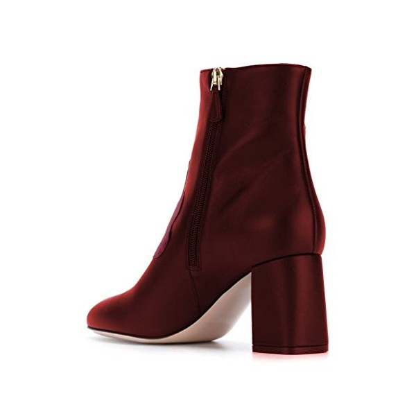 Red Short Boots Flower Block Heel Fashion Ankle Boots US Size 3-15 image 2