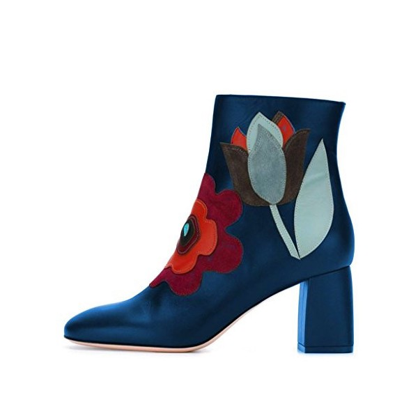 Blue Fashion Round Toe Chunky Heel Ankle High Boots with Zipper Floral Shoes  image 3