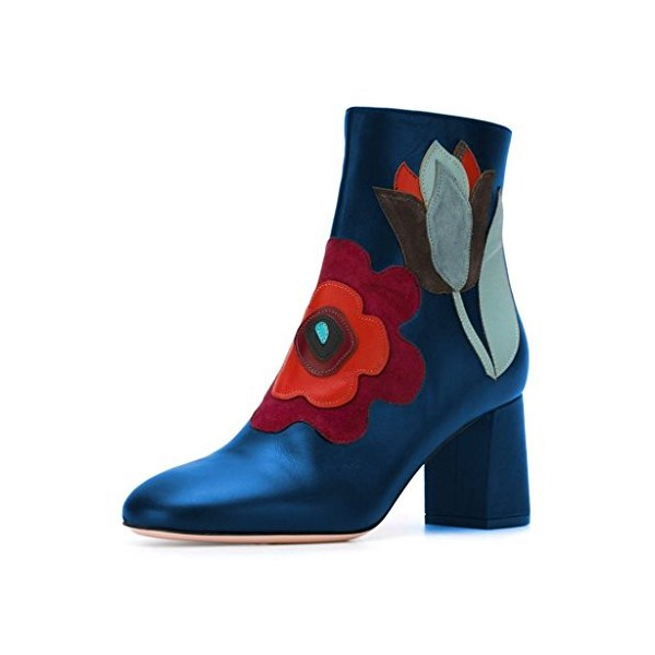 Blue Fashion Round Toe Chunky Heel Ankle High Boots with Zipper Floral Shoes  image 1