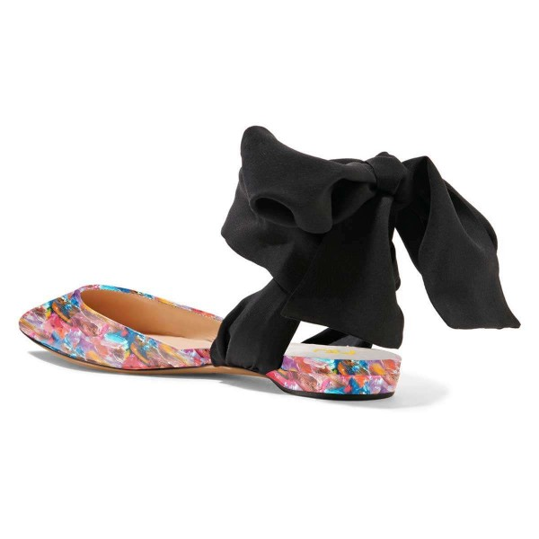 Floral Flat Sandals Patent Leather Strappy Slingback Shoes image 4