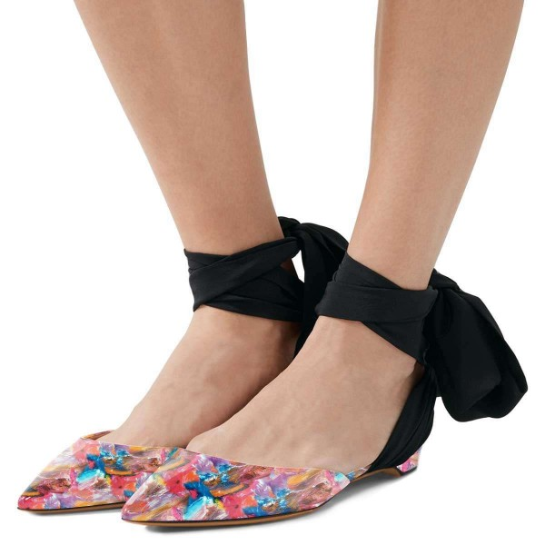 Floral Flat Sandals Patent Leather Strappy Slingback Shoes image 1
