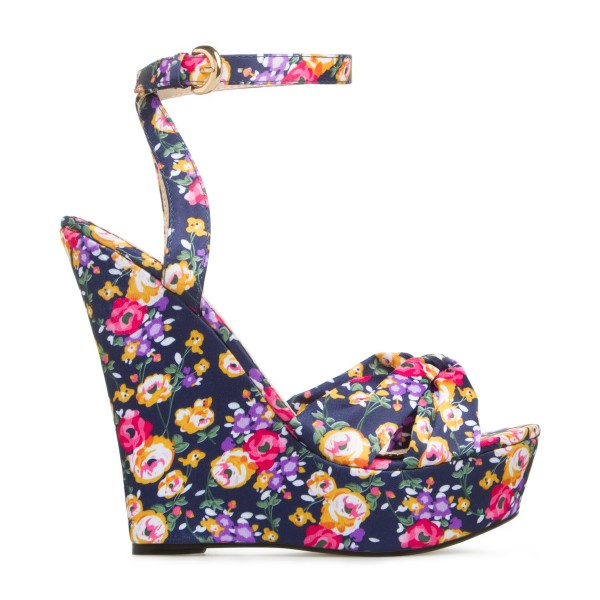 Floral Heels Ankle Strap Wedge Sandals with Platform image 4