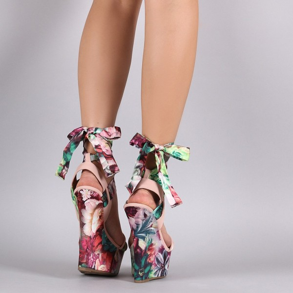 Floral Heels Strappy Platform Wedge Sandals image 4