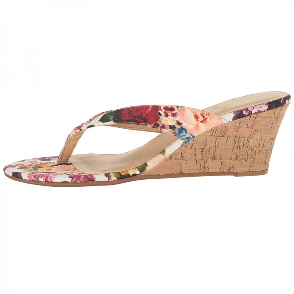 Tan Floral Wedge Flip Flops image 4