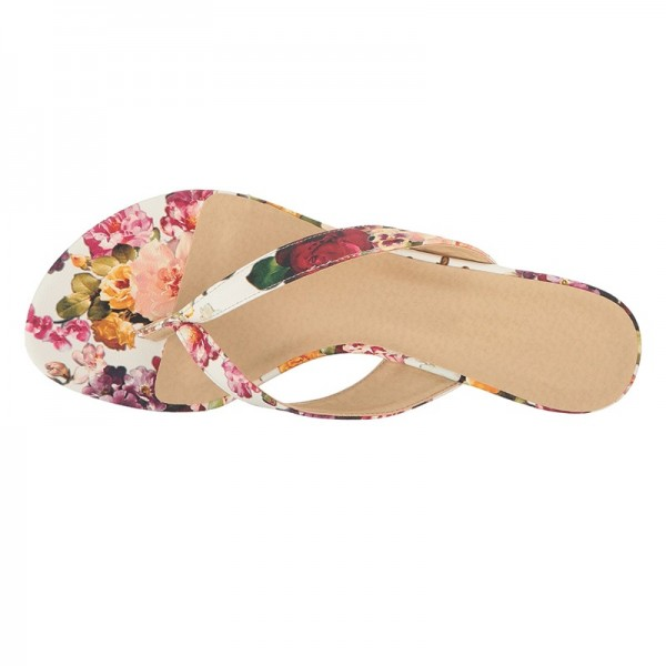 Tan Floral Wedge Flip Flops image 5