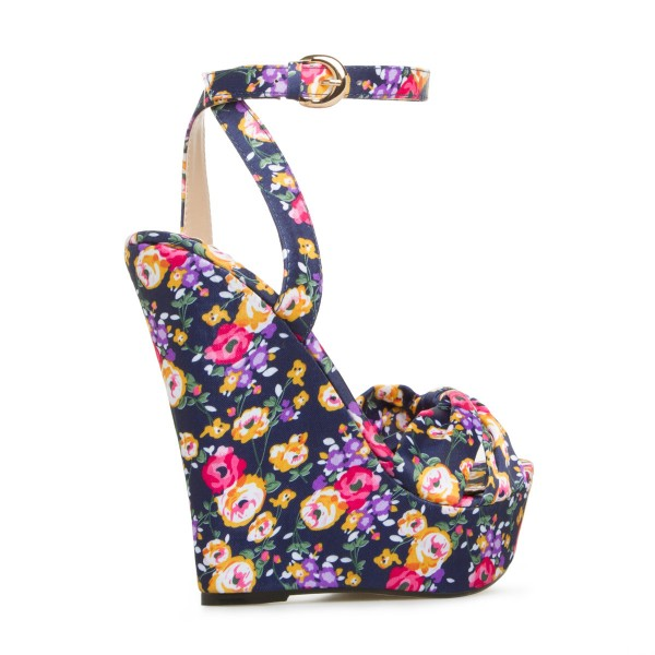 Floral Heels Ankle Strap Wedge Sandals with Platform image 3