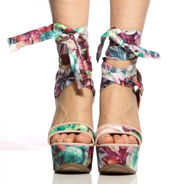 Floral Heels Strappy Platform Wedge Sandals image 3