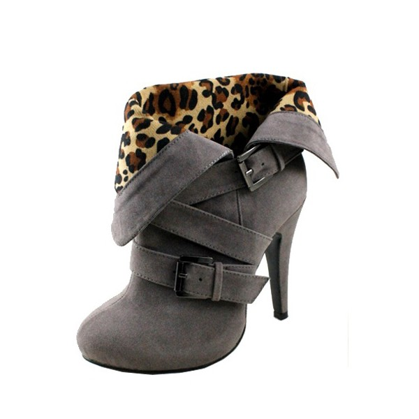Grey Vintage Boots Round Toe Suede Leopard Print Shoes image 1