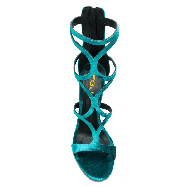 FSJ Teal Velvet Hollow out Stiletto Heels Strappy Sandals image 3