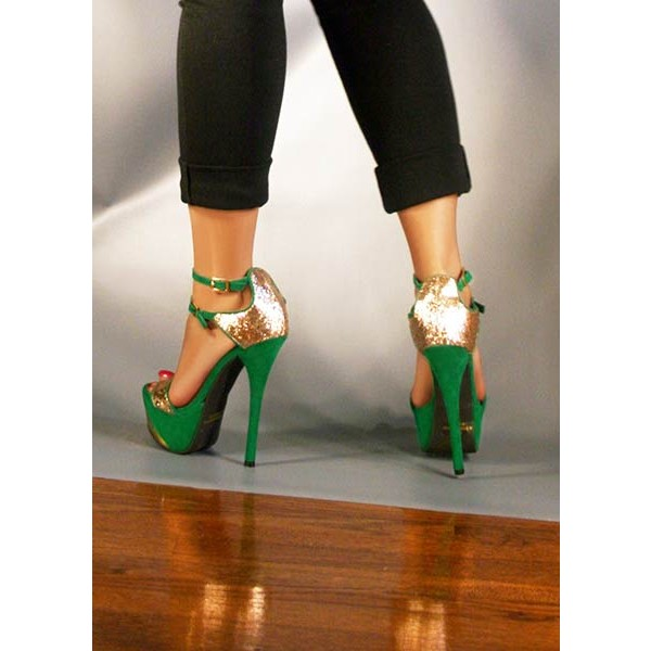 Green and Gold Glitter Ankle Strap Platform Sandals High Heel Shoes  image 2