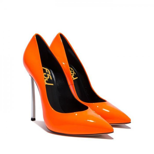 FSJ Shoes Orange Super Stiletto Heels Pointy Toe Patent Leather Pumps  image 2