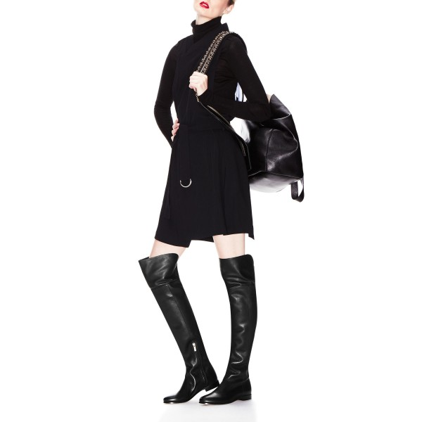 FSJ Shoes Women's Black Comfortable Shoes Over-The- Knee Long Boots image 1