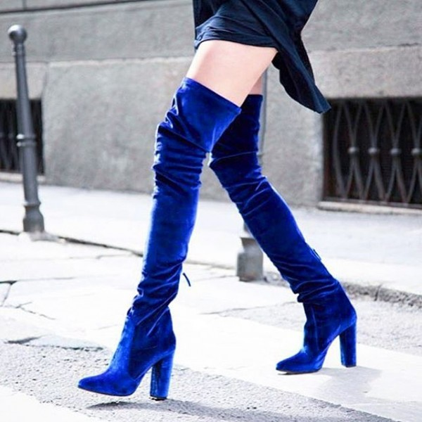 FSJ Shoes Women's Royal Blue Long Boots Chunky Heels Thigh-high Boots
