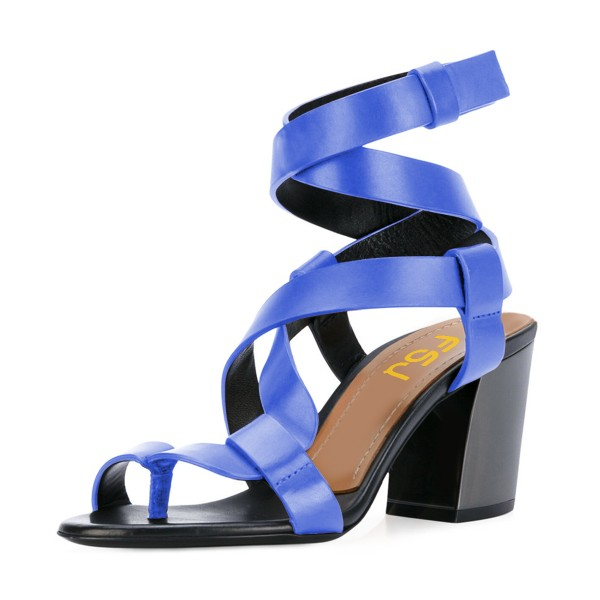 FSJ Blue Strappy Sandals Open Toe Block Heel Vegan Shoes US Size 3-15 image 1
