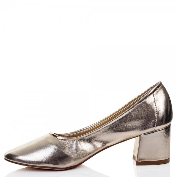 Fashion Silver Chunky Heels Round Toe Patent Leather Pumps by FSJ image 4