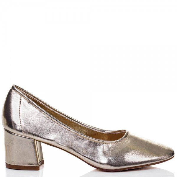 Fashion Silver Chunky Heels Round Toe Patent Leather Pumps by FSJ image 3