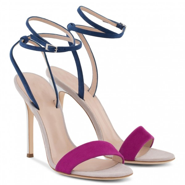 Navy and Orchid Suede Stiletto Heel Ankle Strap Sandals  image 5