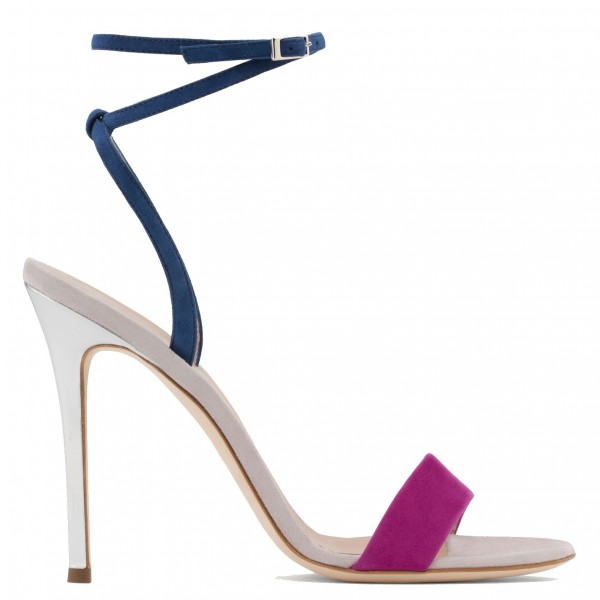 Navy and Orchid Suede Stiletto Heel Ankle Strap Sandals  image 3