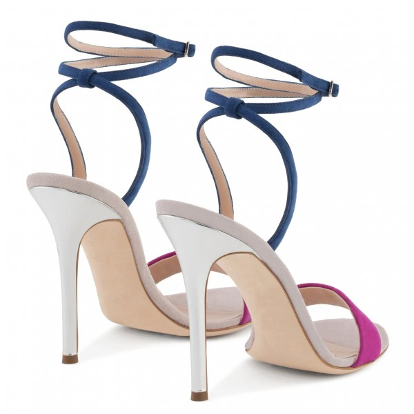 Navy and Orchid Suede Stiletto Heel Ankle Strap Sandals  image 4