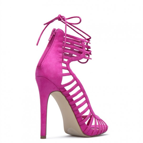 Rose Red Stiletto Heels Peep Toe Lace up Strappy Sandals image 4
