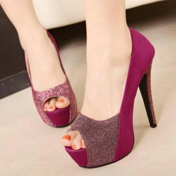 2018 Fuchsia Peep Toe Heels Suede Platform Pumps High Heels Shoes  image 1