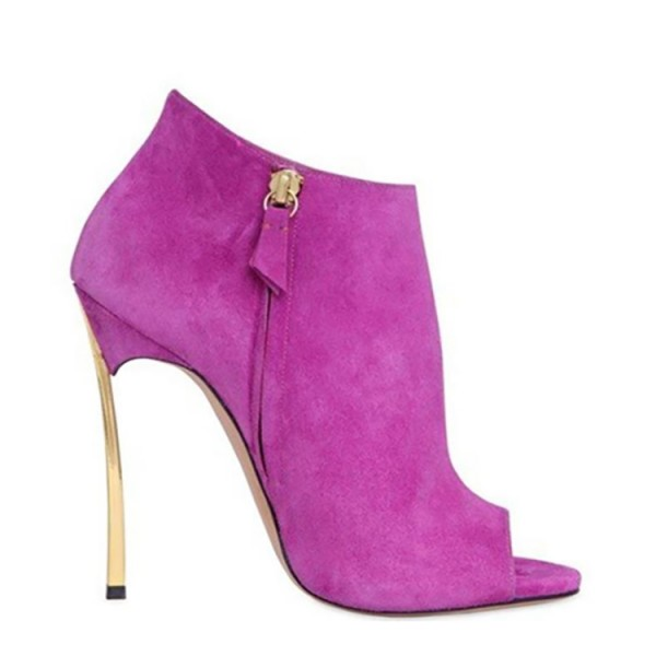 Fuchsia Peep Toe Booties Suede Stiletto Heel Fashion Boots image 2