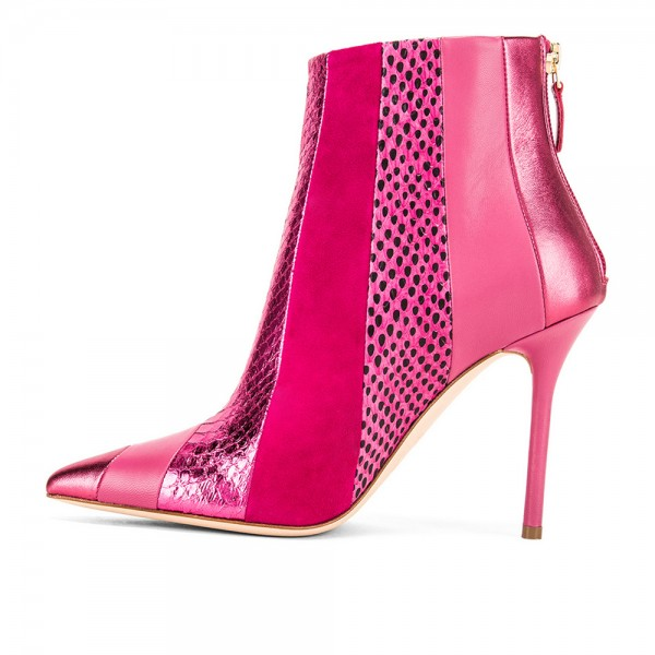 Fuchsia Python Suede Stiletto Boots Ankle Boots image 3