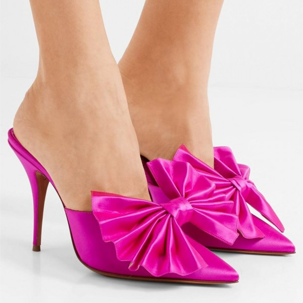 Hot Pink Satin Bow Heels Pointy Toe Stiletto Heels Mule image 5